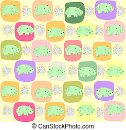 Children seamless pattern with hipp