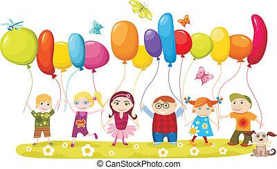 children set - vector illustration of children