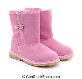 Children Sheepskin boots - Children's pink boots on a white...