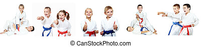 Children show techniques of karate