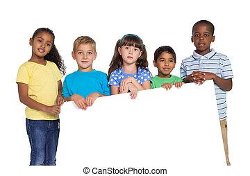 Children showing card to camera - Cute children showing...