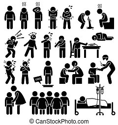 Children Sick Sickness Ill Illness - Illustrations showing...