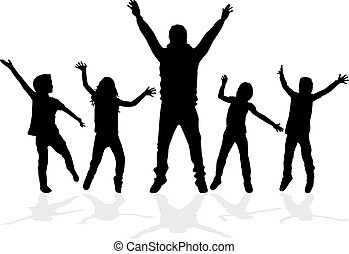 children., silhouette, ballo