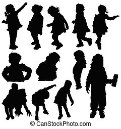 children silhouette cute playing in black color illustration