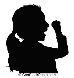 children silhouette figure in black color illustration