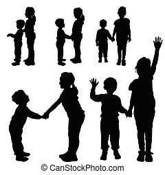 children silhouette happy and cute illustration
