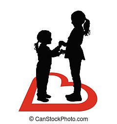 children silhouette happy in red heart illustration