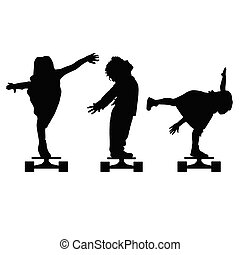 children silhouette on skate set in black illustration
