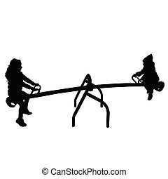 children silhouette on teeter in black color illustration