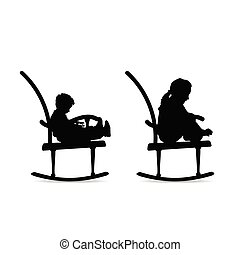 children silhouette on the rocking chair