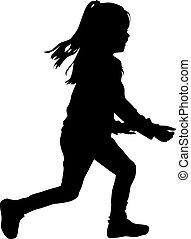 Children silhouette  running.