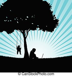 children silhouette sitting under the tree in nature illustration