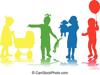 Children silhouette.