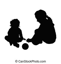 children silhouette with ball illustration