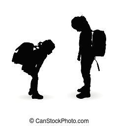 children silhouette with school bag