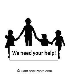 children silhouette with transparent need help illustration