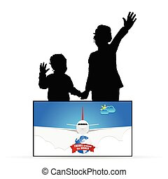 children silhouette with travel sign illustration