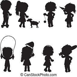 children silhouettes active