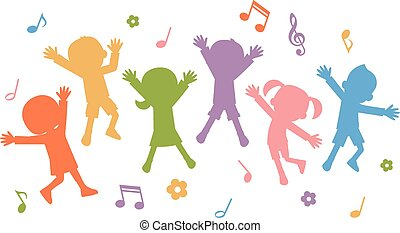 children silhouettes jumping - Vector illustration.