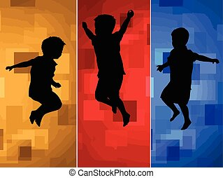 Children silhouettes jumping