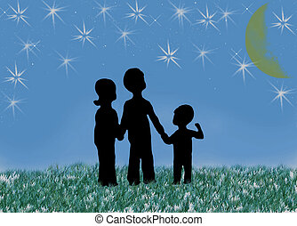Three children in silhouette looking up at the night sky.