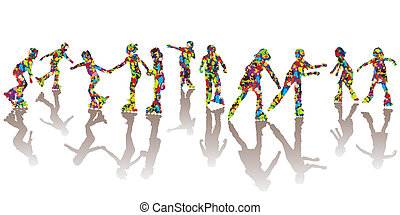 Children silhouettes made of colorful spots on roller...