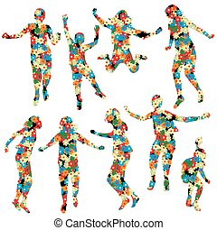 Children silhouettes made of  floral pattern