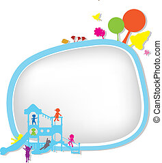 children silhouettes playground background for banners,...