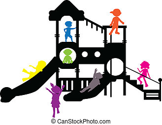 children silhouettes playground for banners, background and...