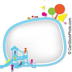 children silhouettes playground
