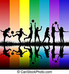 Children silhouettes playing on rainbow background