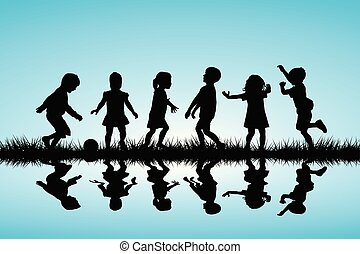 Children silhouettes playing outdoor.eps