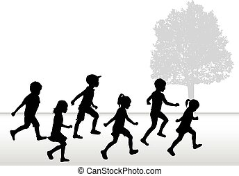 Children silhouettes running on white background.