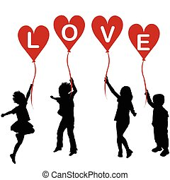 Children silhouettes with heart balloons and word LOVE