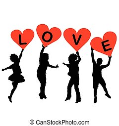 Children silhouettes with heart shaped banners