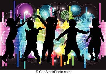 children., silhuetas, conceptual., dançar, pessoas