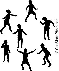 children., siluetas, bailando