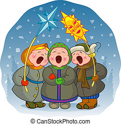 The children sing a Christmas song on a winter background. EPS 8, AI, JPEG