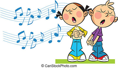In the illustration cartoon girl and boy sing on the background symbolic musical notes. Illustration done in cartoon style, on separate layers.