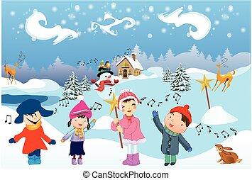 Children sing the Carol