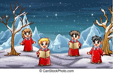 Children singing christmas carol in north pole background