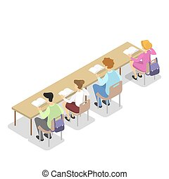 Children sitting in library at the table and read