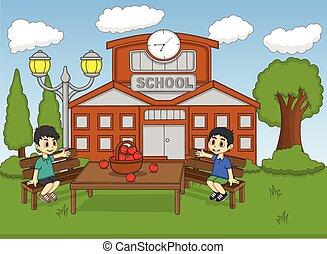 Children sitting in the school