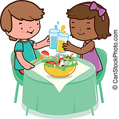 Children sitting o a table and eating healthy food. Vector...