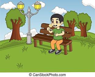 Children sitting on the bench
