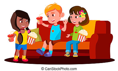 Children Sitting On The Sofa With Popcorn And Drinks Vector. Isolated Illustration