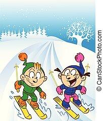 children ski trip - The illustration shows a children...