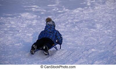Children Sledding Down a Snowy Hill. Slow Motion