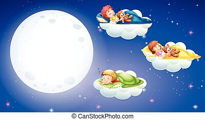 Children sleeping at night time
