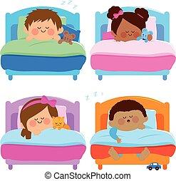 Children sleeping. Vector illustration